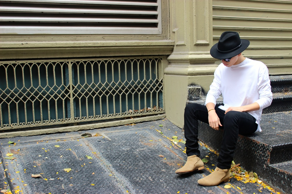Saint Laurent boots, Brixton hat.