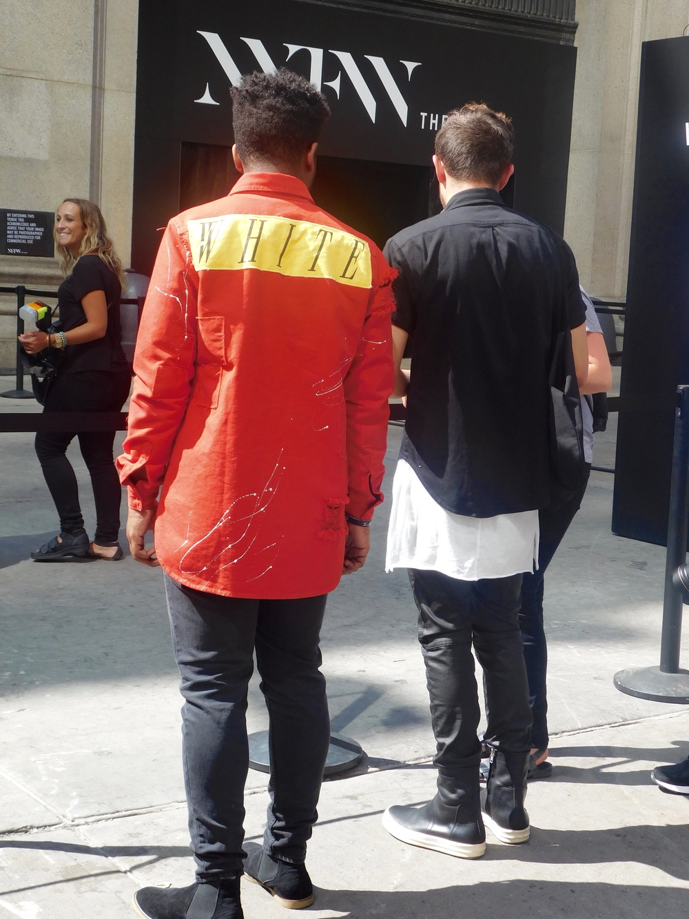 Jairus Pollard wearing OFF-WHITE jacket, and Jackson Ray wearing Daniel Patrick, BLK DNM and Rick Owens.