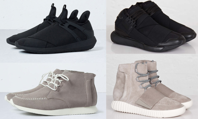 Zara (top and bottom left) vs. Y-3 (top right) and Adidas Yeezy Boosts 750 (bottom right). There's as much originality here as there were emotions from Kristen Stewart during the Twilight films. Photo via Complex.