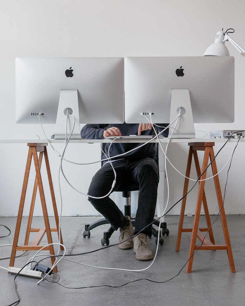 Justin Saunders in his studio