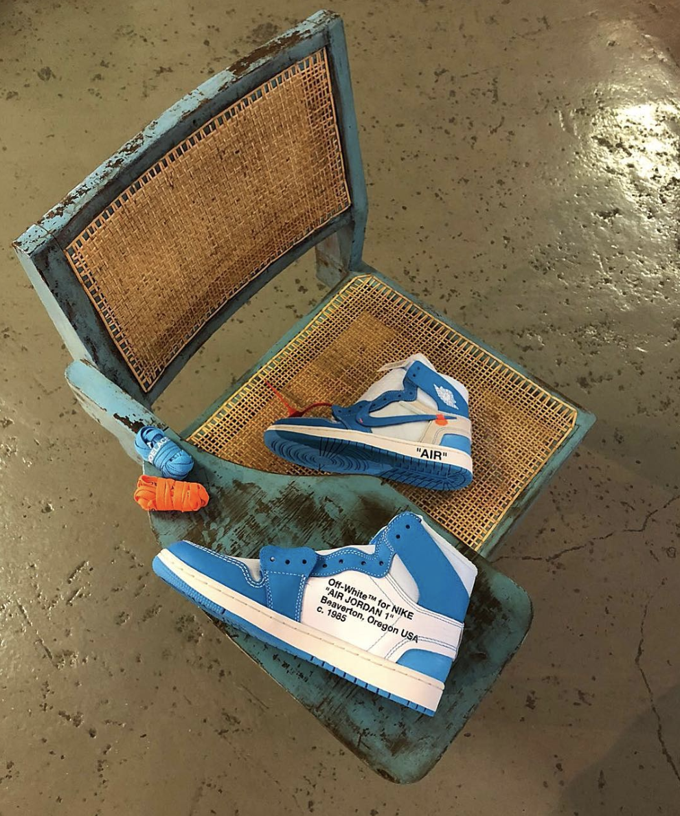 air jordan 1 off white blue outfit