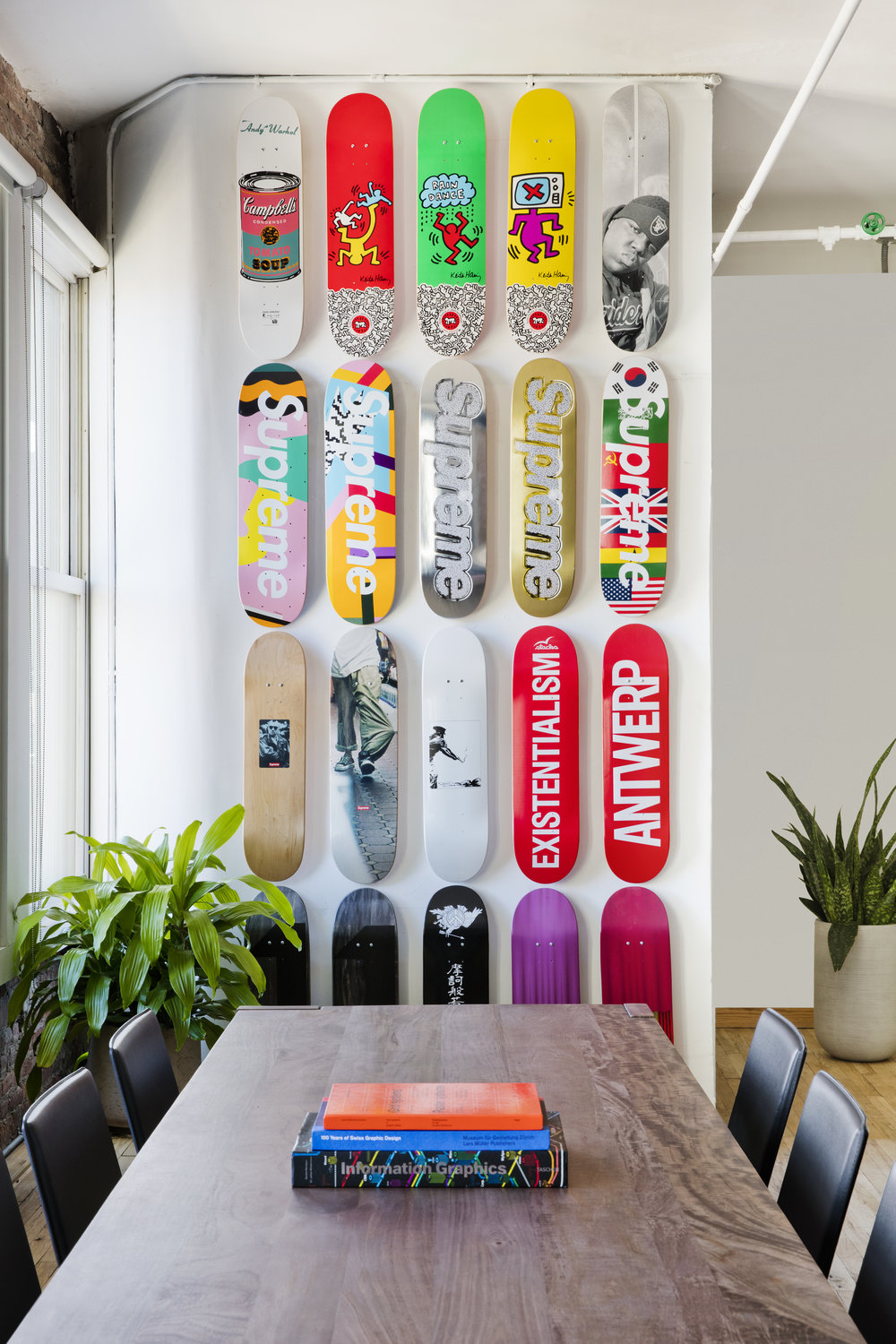 One of the many jaw-dropping exhibits in the Grailed office. Supreme decks on deck!  Source: Gigantic Forehead