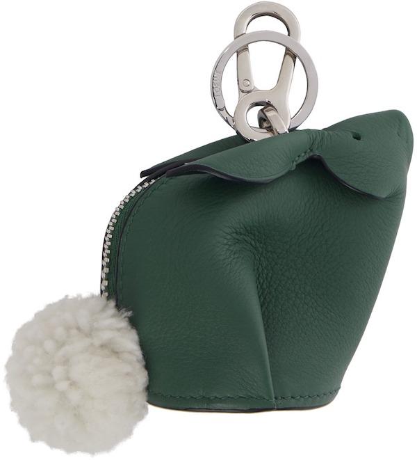 Loewe Green Bunny Charm Keychain,  SSENSE