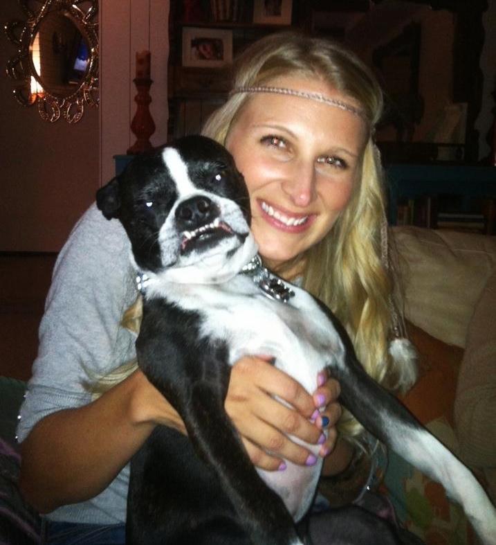Maggie Ballard and Bernie Mac her boston terrier.