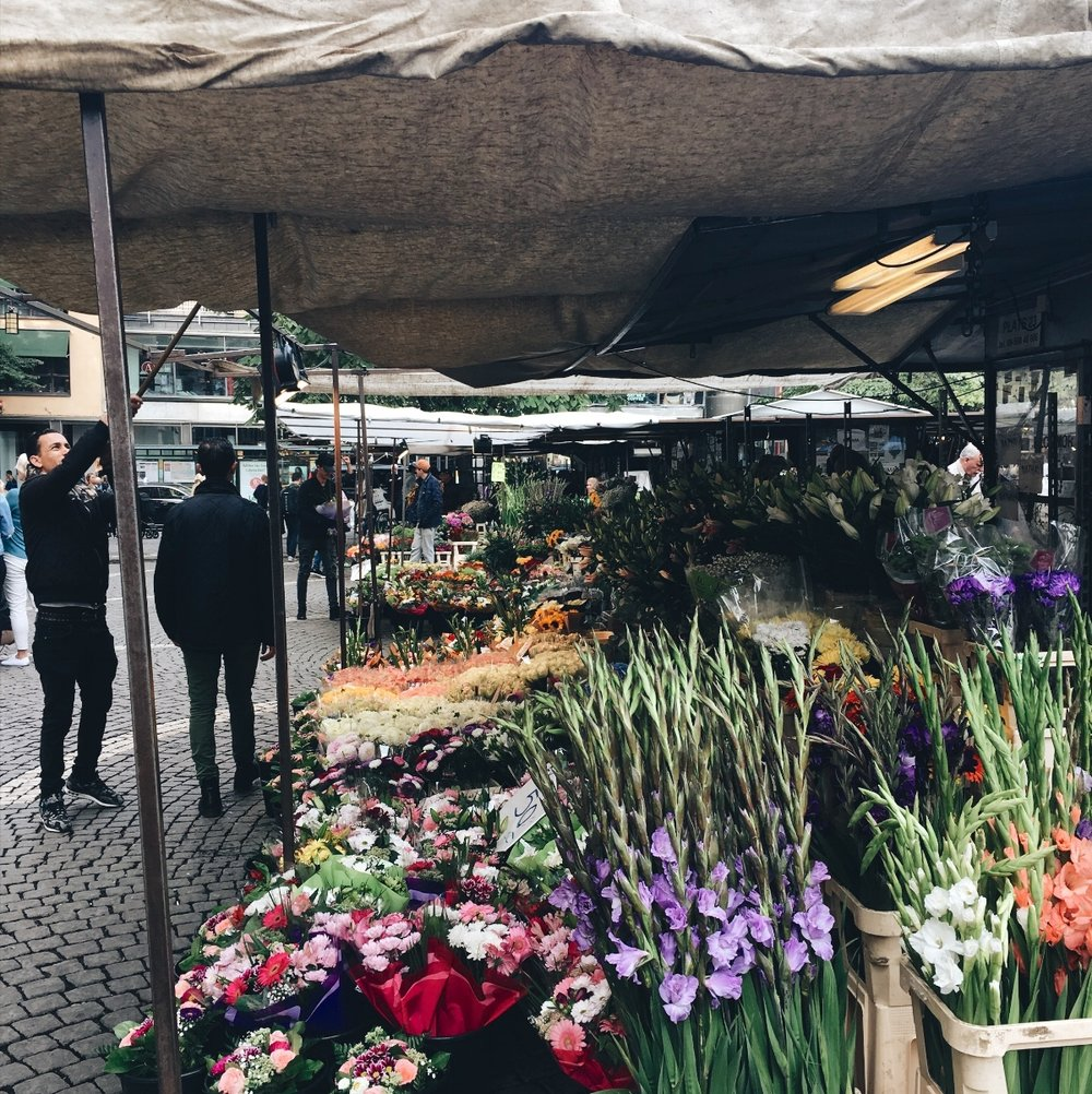 Hötorget or Haymarket, a market in the center of Stockholm with lots of fresh fruits, veggies and flowers
