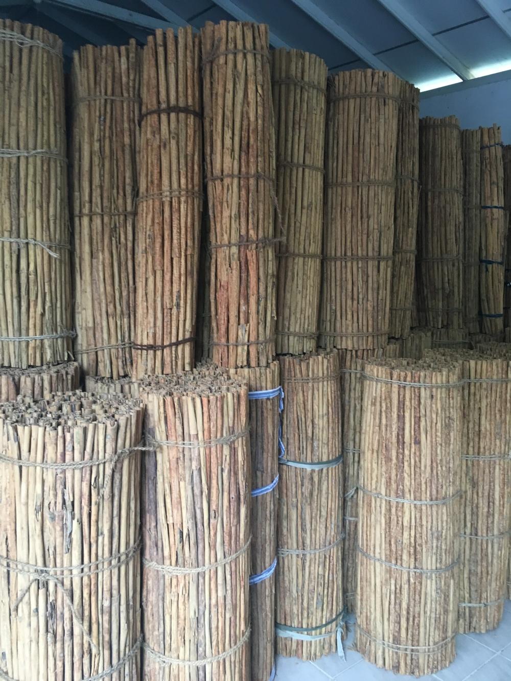 Depois de assistirmos ao processo de produção, fomos ao galpão onde as canelas são armazenadas para a exportação. Se fosse canela da china, penso que seria impossível permanecer num galpão cheio delas. Mas como a do Ceilão possui um aroma muito mais suave, estar na presença de tanta canela junta foi muito tranquilo. Um leve cheirinho de madeira com especiaria no ar.