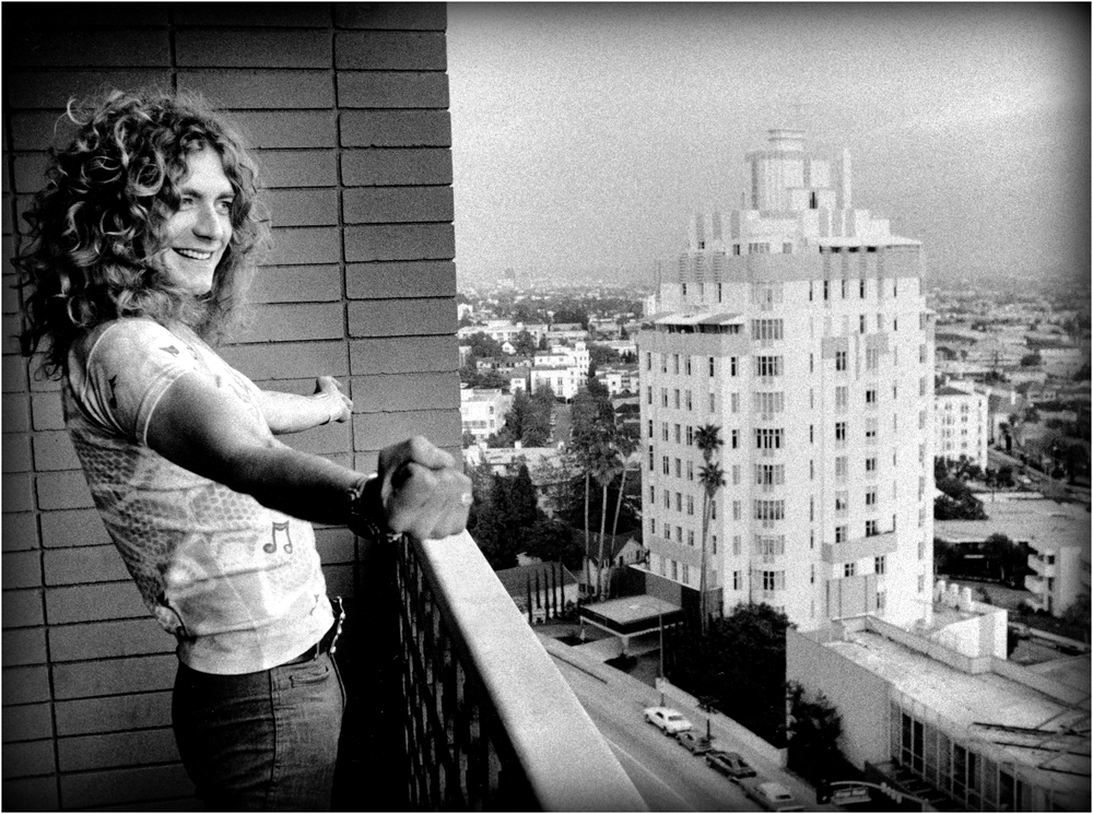 """I am a Golden God!"" - Robert Plant proclaims along Sunset BLVD, 1975."