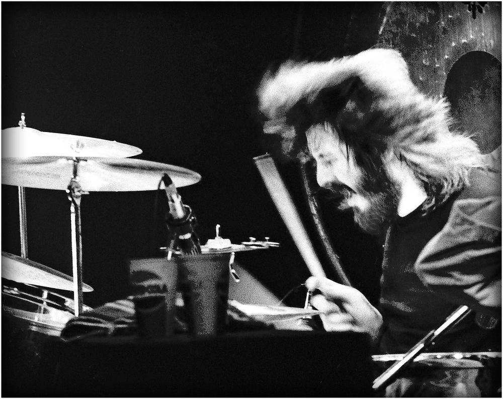 """The Beast at Work"" - John Bonham of Led Zep pounds away in LA, 1975."