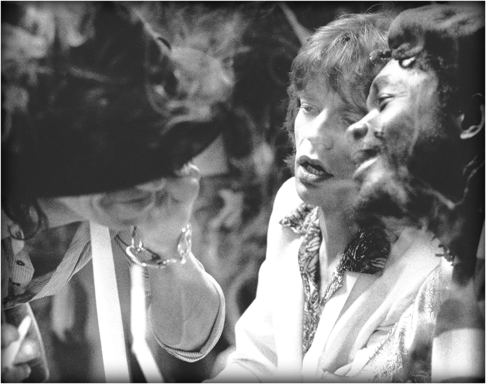 """Backstage Recreation"" - Keith, Jagger and Tosh share a spliff at SNL, 1978."