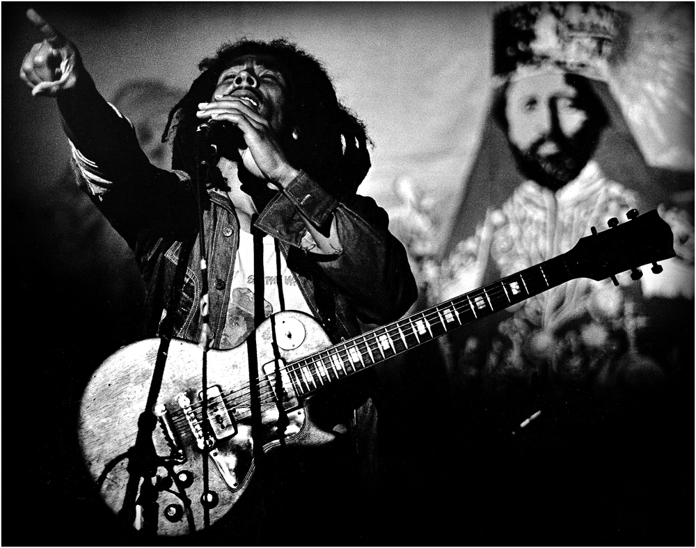 """Jah Live"" - Bob in concert at the Boston Music Hall, 1976."
