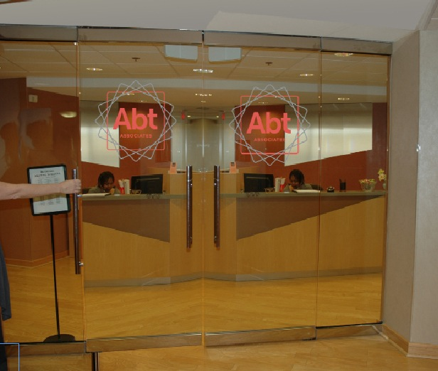 Abt Associates  2012 Branding Efforts, Office Graphics and Wall Signage, Double Glass Door Logos