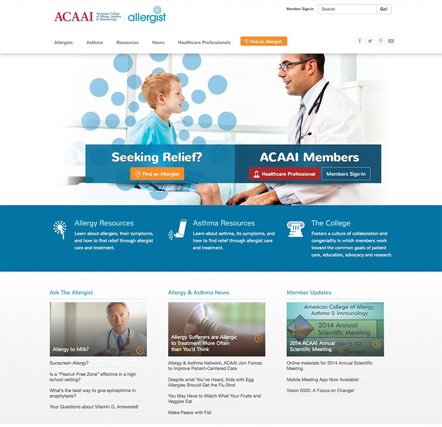 American College of Allergy, Asthma and Immunology Website and Maintenance