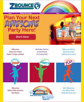 ZBounce Fun Centers Website, branding, store graphics, signage, displays, brochures and corporate identity.