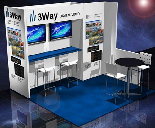 3Way Digital Video   5 panel trade show display, video, backdrop, tables, chairs and lighting