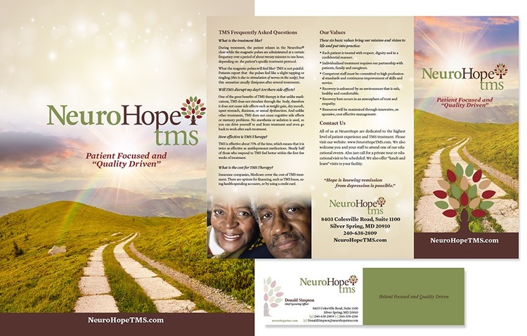 NeuroHope TMS Website and brochure, corporate branding/logo, sales materials
