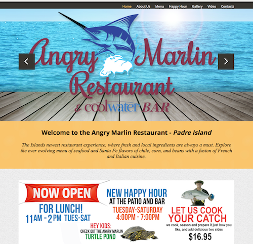 The Angry Marlin Restaurant   Website design, content, writing, programming, photo editing, video editing, branding, printing, brochures and online marketing campaigns.