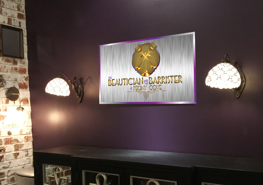 The Beautician and The Barrister Salon  Logo and in store signage