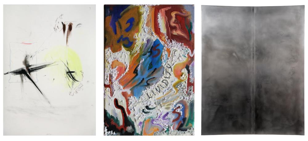 Abb. v.l.n.r.: Thomas Helbig, Homo Homini Lupus , 2007, 59.4 x 42 cm;Elif Saydam, L for Loyalty (Lividity) , 2018, 30 x 21cm;Sophie Reinhold, Untitled , 2018, 200 x 160 cm