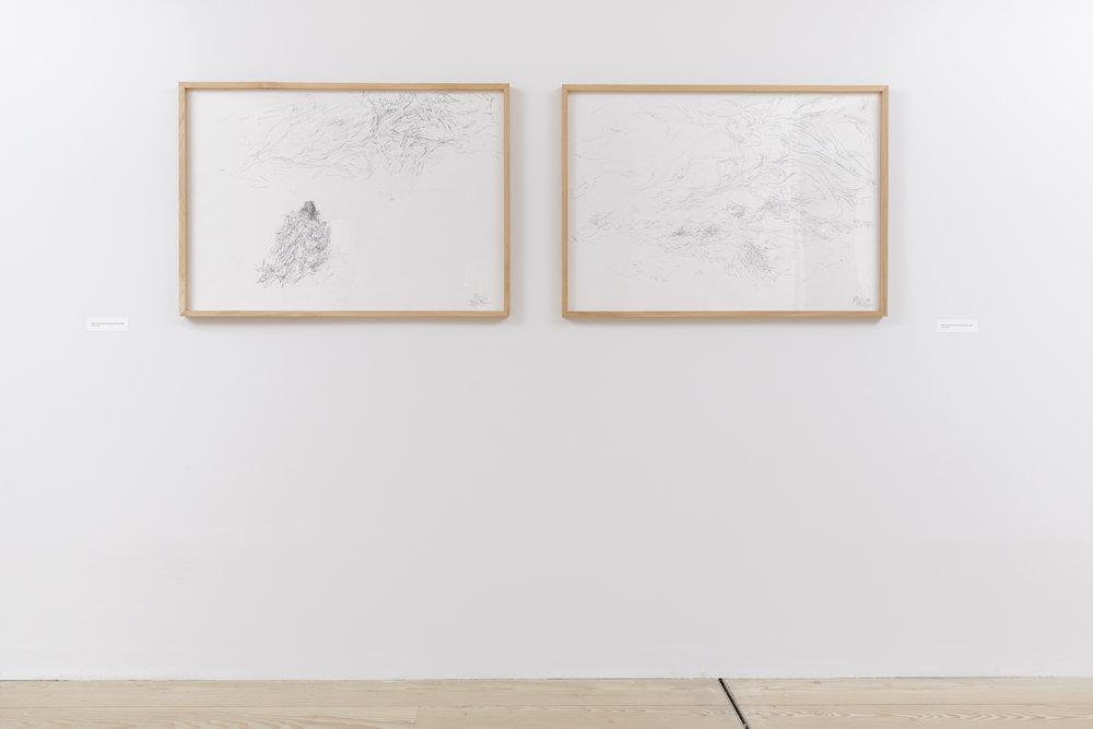 Installation shot (Heavy X looks at thick slow on blue thick blue, White rocks up, Pink went out to distant ships)  Pencil on paper