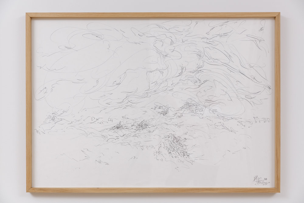 Installation shot (Pink went out to distant ships)  Pencil on paper