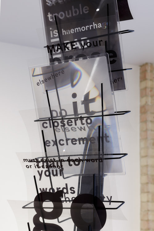 Installation shot (Prepared poem 3 - detail)  Metal structure, printed transparencies