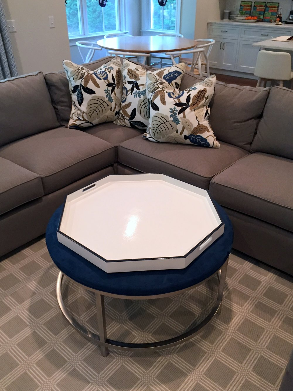White and Navy Octagon Tray
