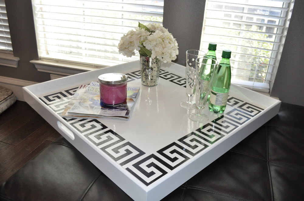 White with Black Greek Key Square Tray