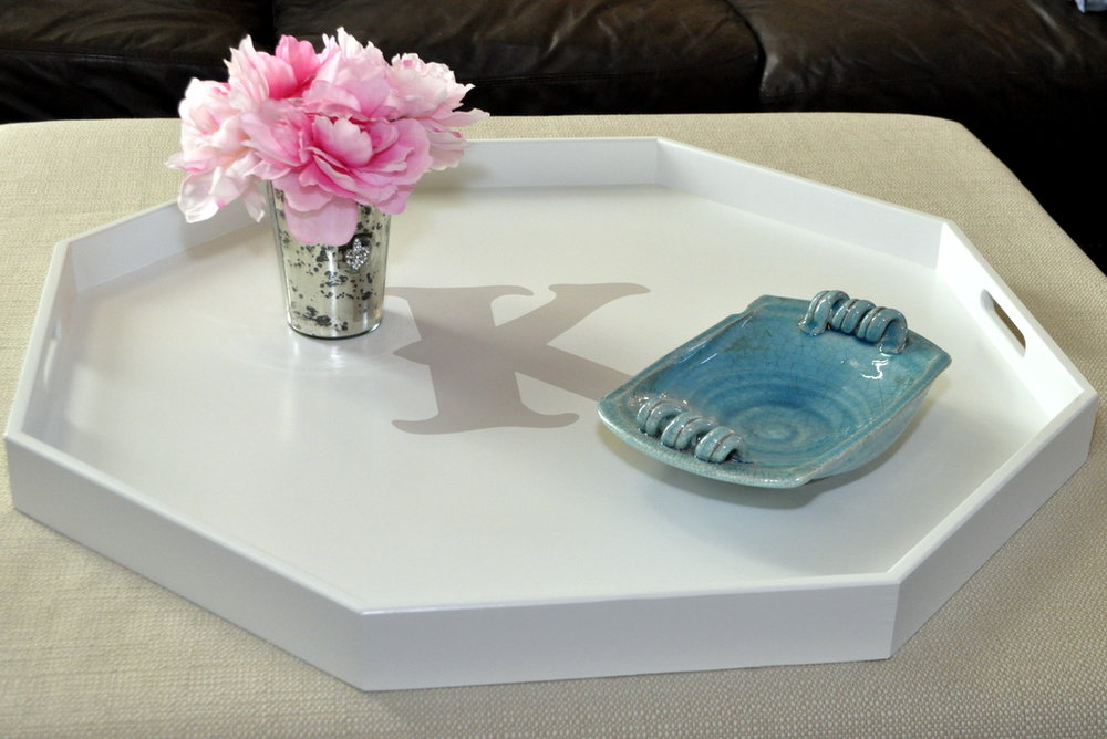 White with Monogram Octagon Tray