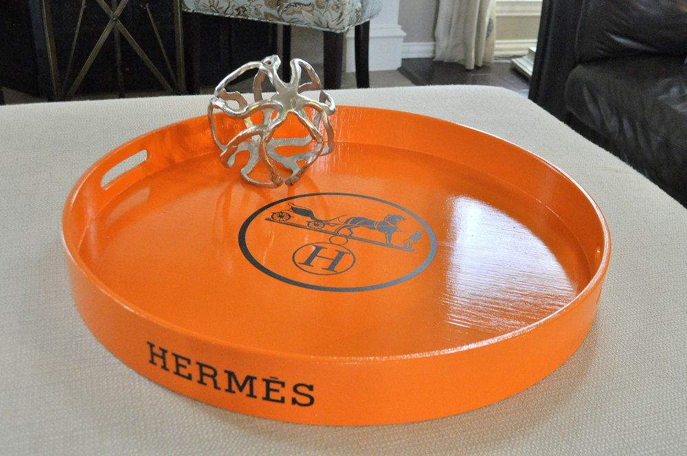 Hermes Orange with Logo Round Tray