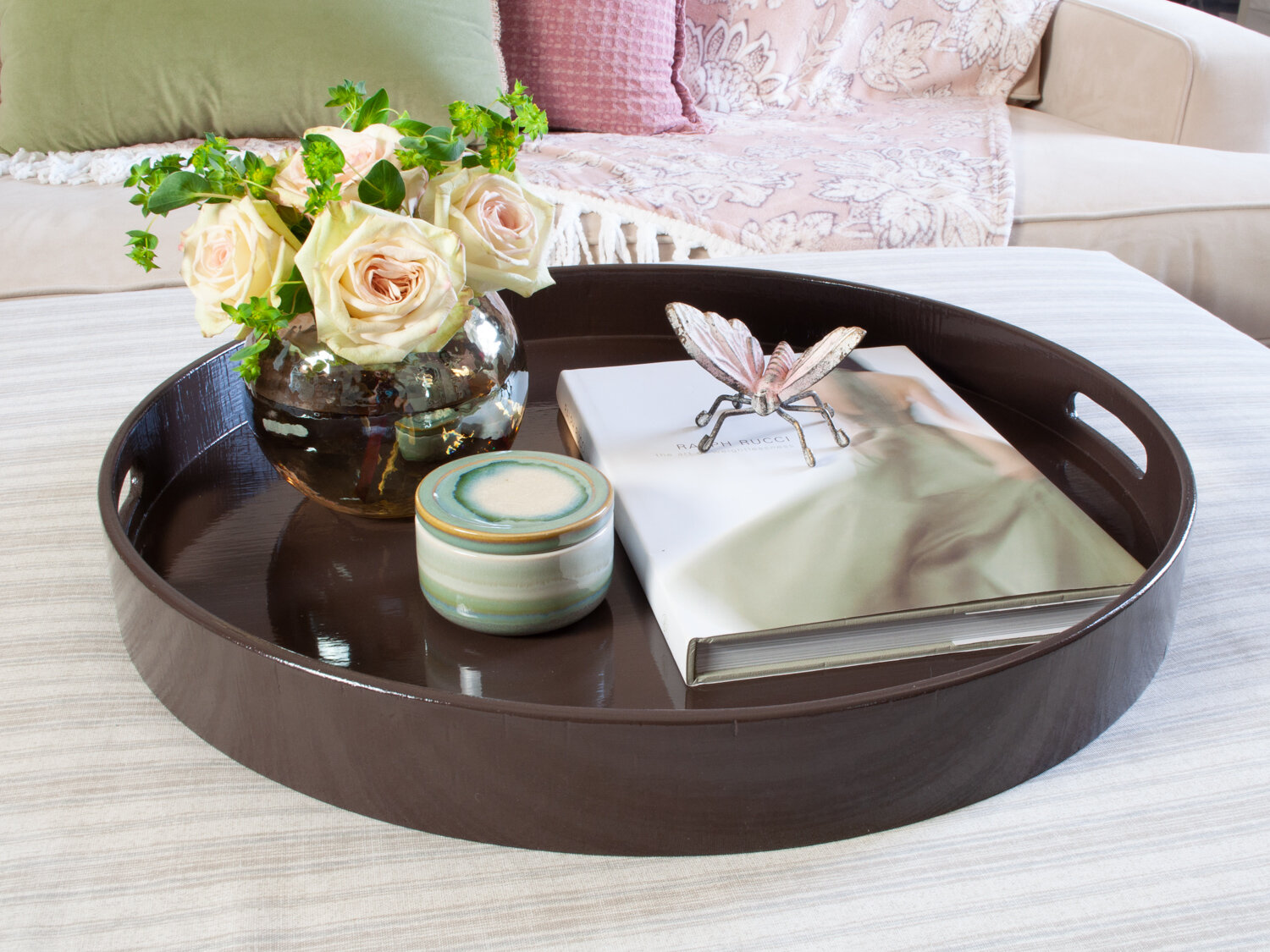 Ready To Ship 22 Dark Brown Round Extra Large Ottoman Tray Love It Up Decor
