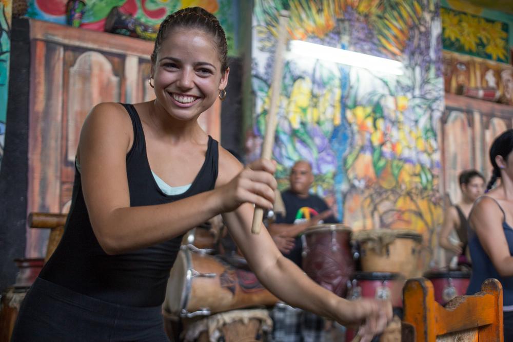 Women drum and dance in Havana, Cuba