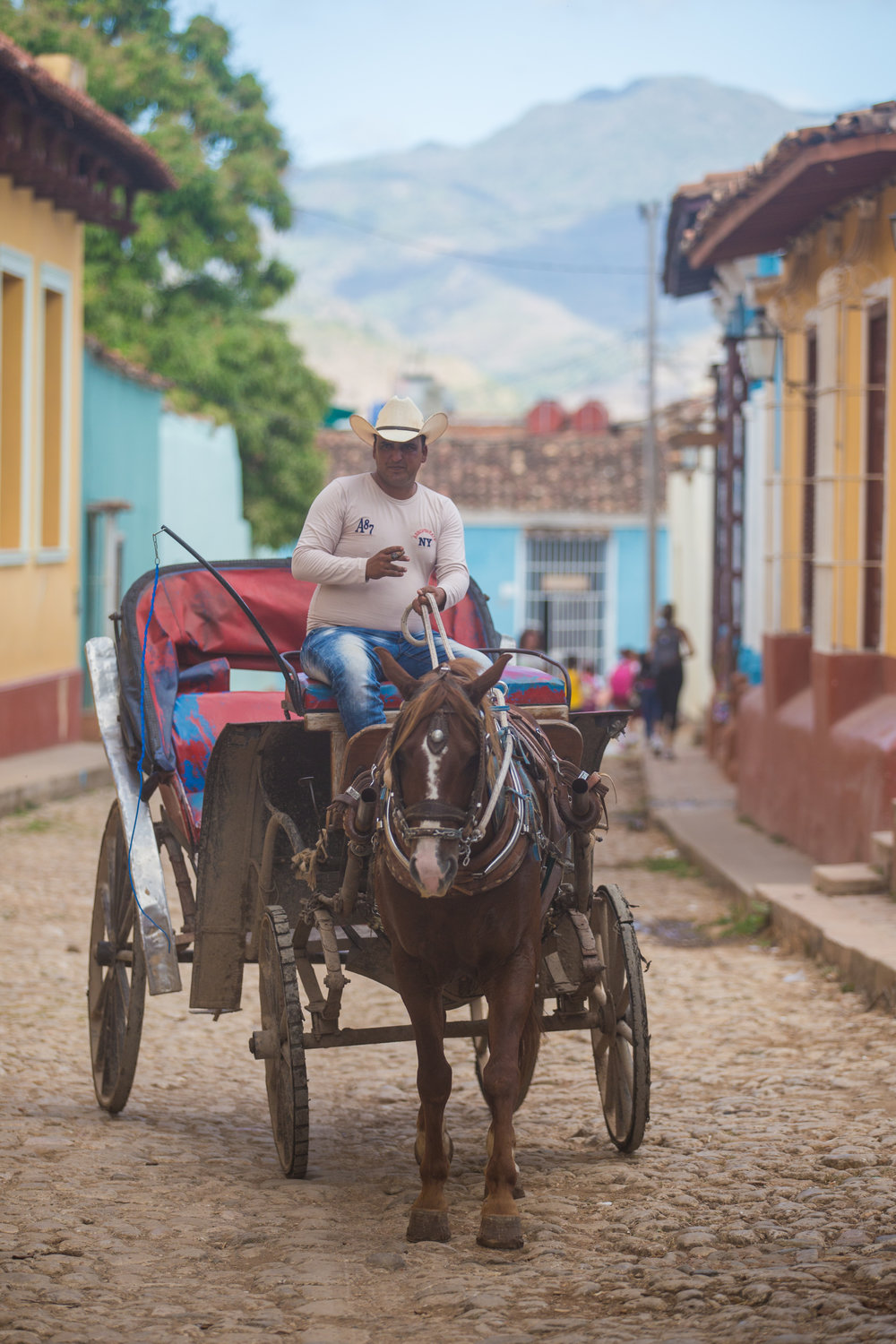 Horse and buggy service as a taxi along the cobblestone streets of Trinidad, Cuba.