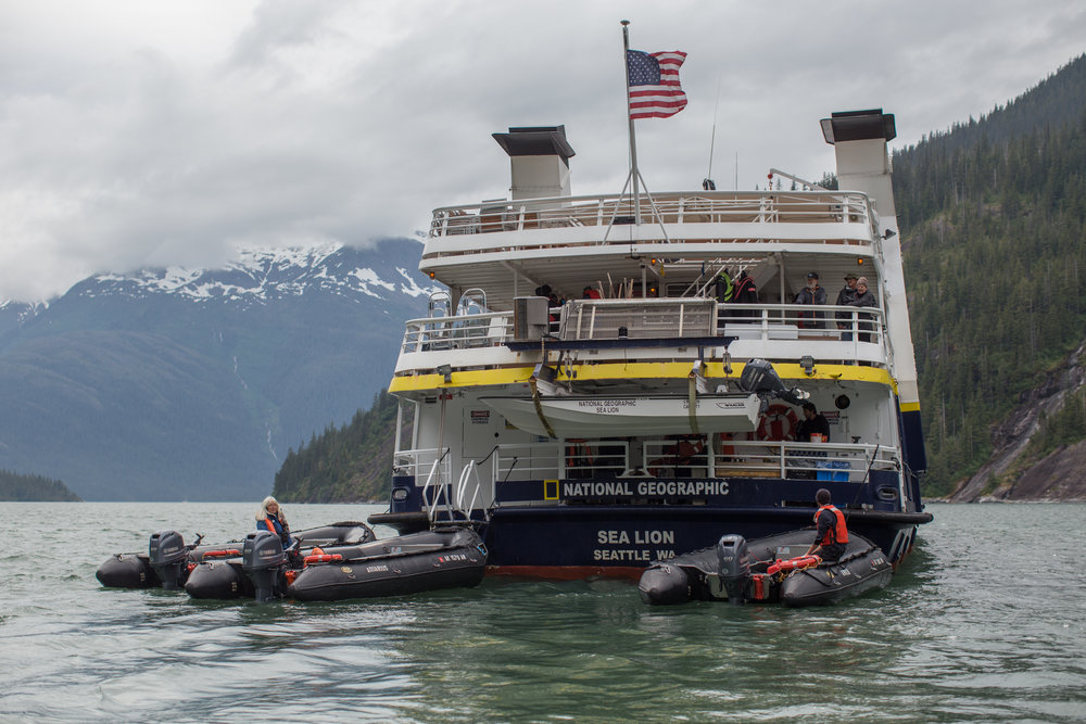 Sea Lion staff preparing zodiaks in Alaska's Inside Passage.