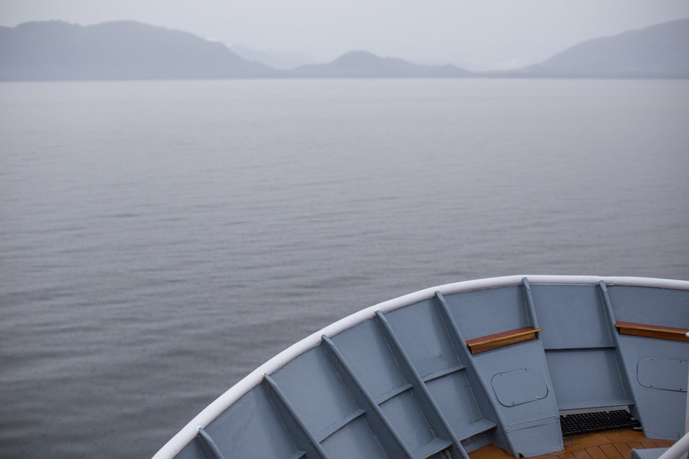 Horizon of Alaska's Inside Passage from the bow of the Sea Lion.