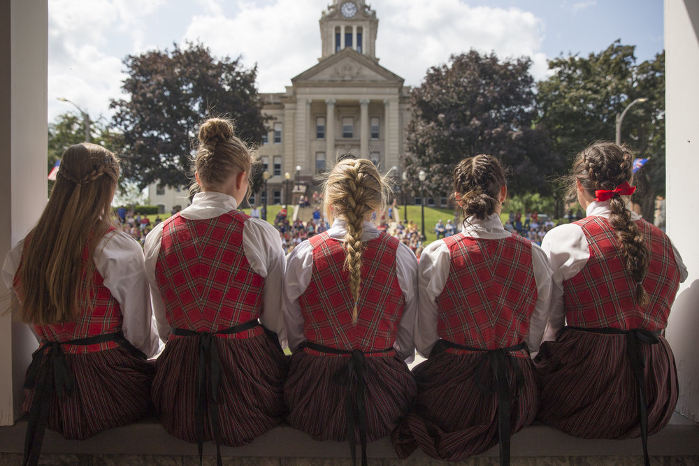 Decorah's high school Nordic Dancers.