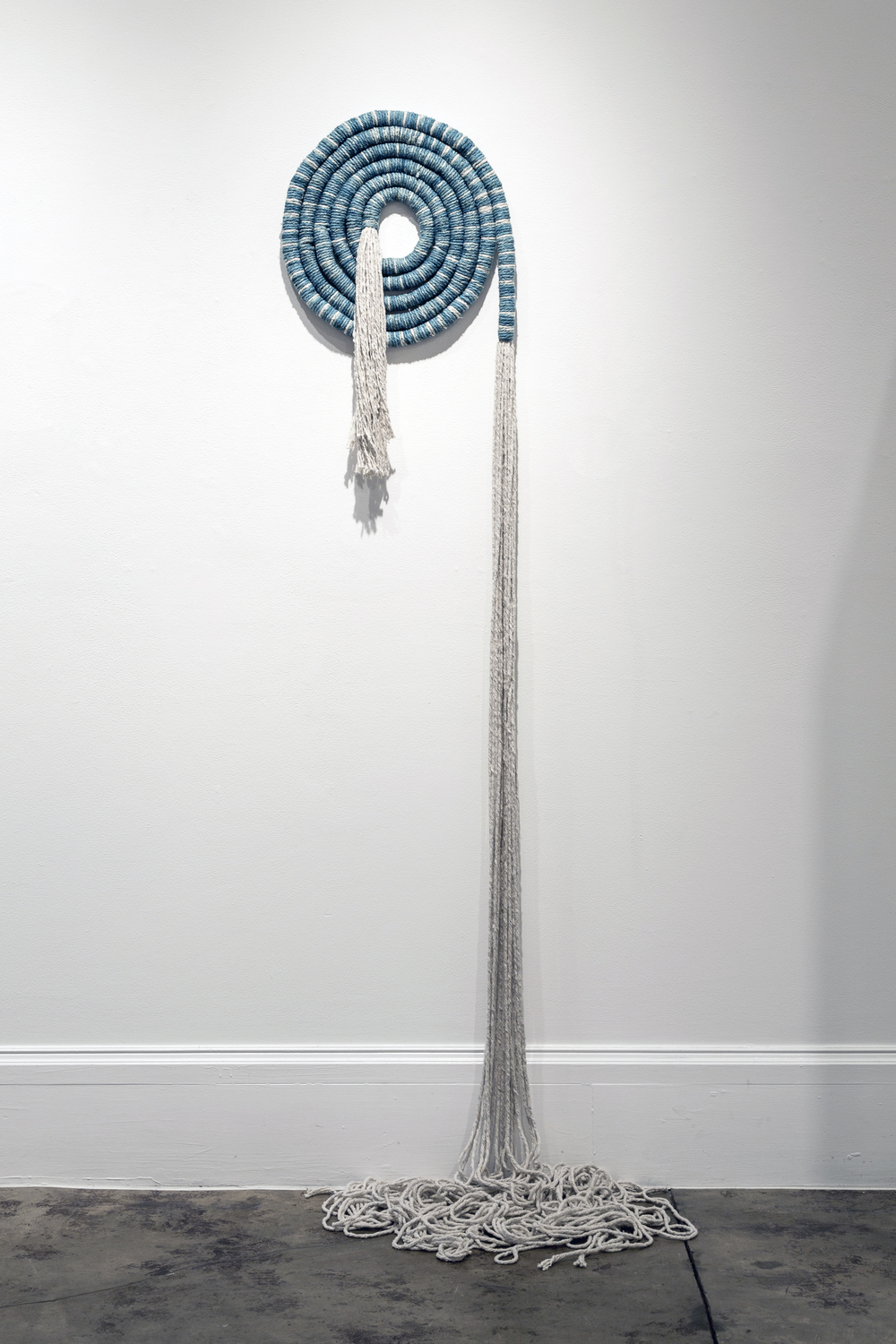 Large Indigo Coil, 2014, cotton indigo, 150 x 18 inches                                                                                 Photo: Maria Minnelli