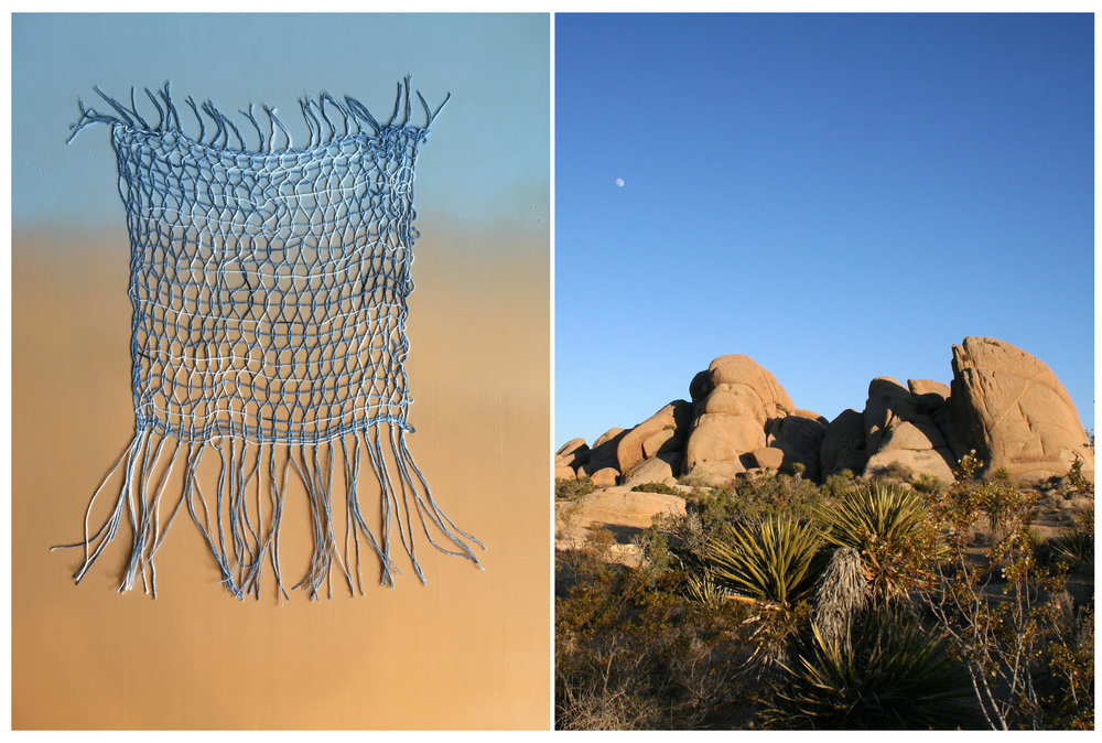 Mojave Openwork V  , 2016, indigo, cotton threads, paint, & resin on wood panel, 24 x 30 inches    Joshua Tree National Park  , 2016