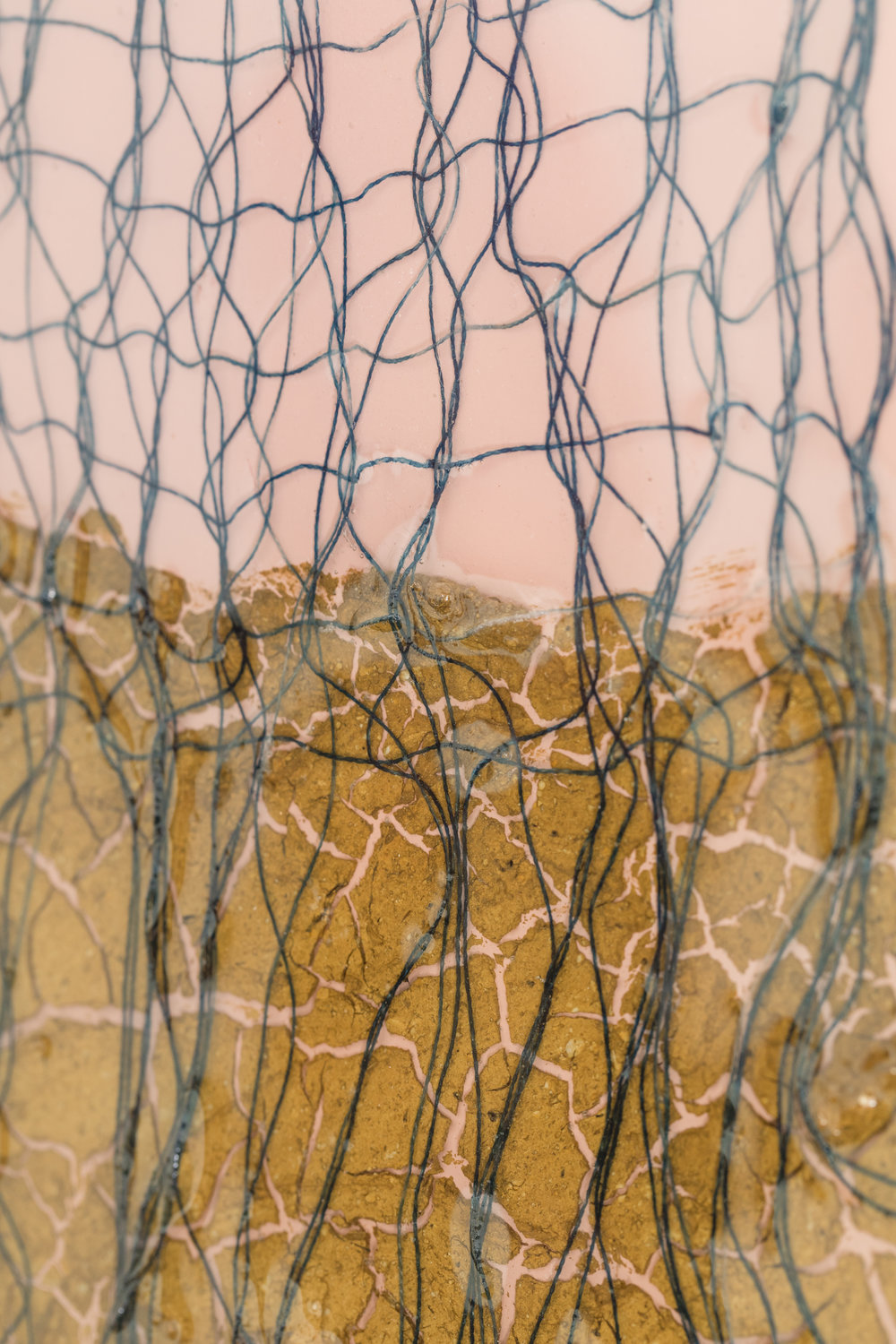 Mojave Sunset (detail)  , 2017, cotton, indigo, sand, spray paint on wood panel, 24 x 30 inches