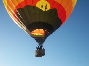 A student pilot training in a hot air balloon.
