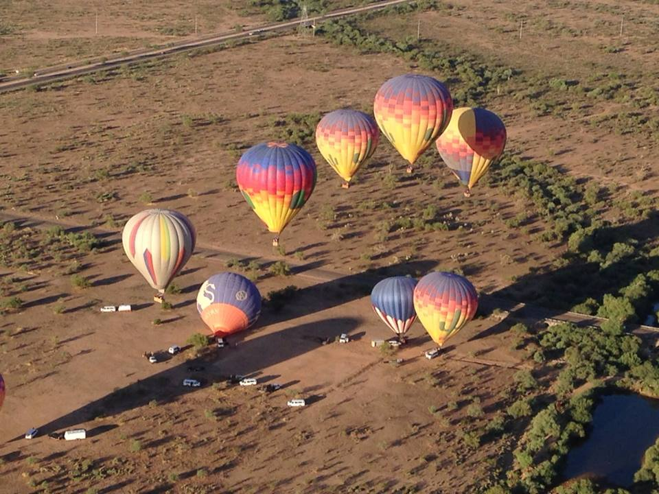 A hot air balloon ride above Phoenix.