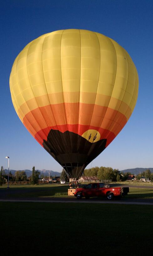 An inflated hot air balloon.