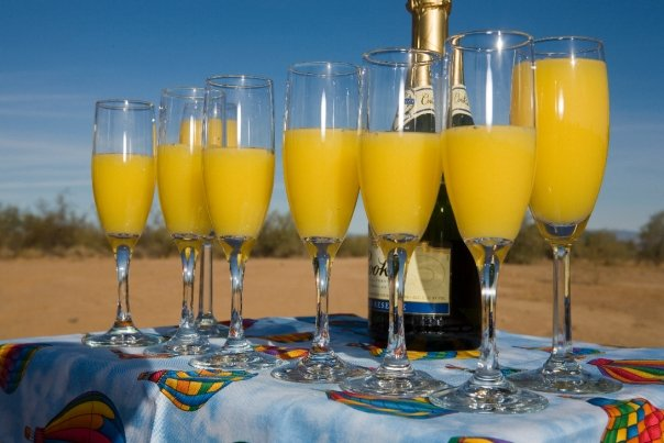 Champagne (mimosa) hot air balloon tours.