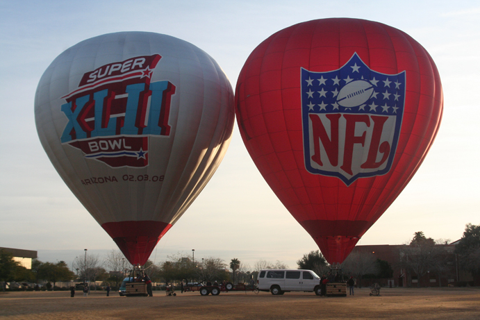 Inflated Superbowl hot air balloons.