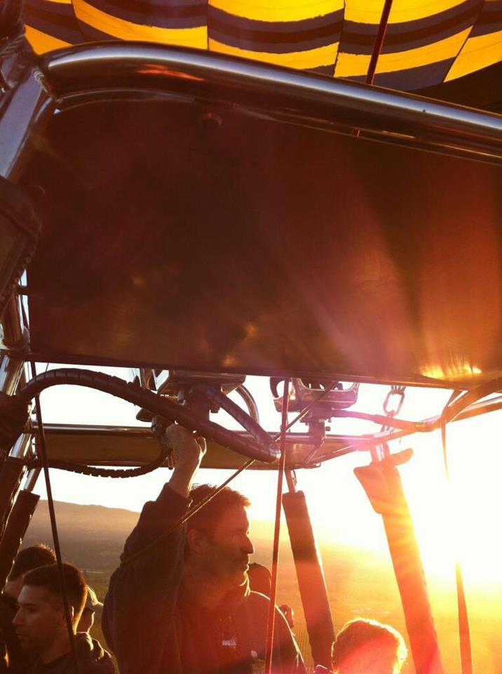 Pilot Kevin Flanagan on a sunrise balloon flight.