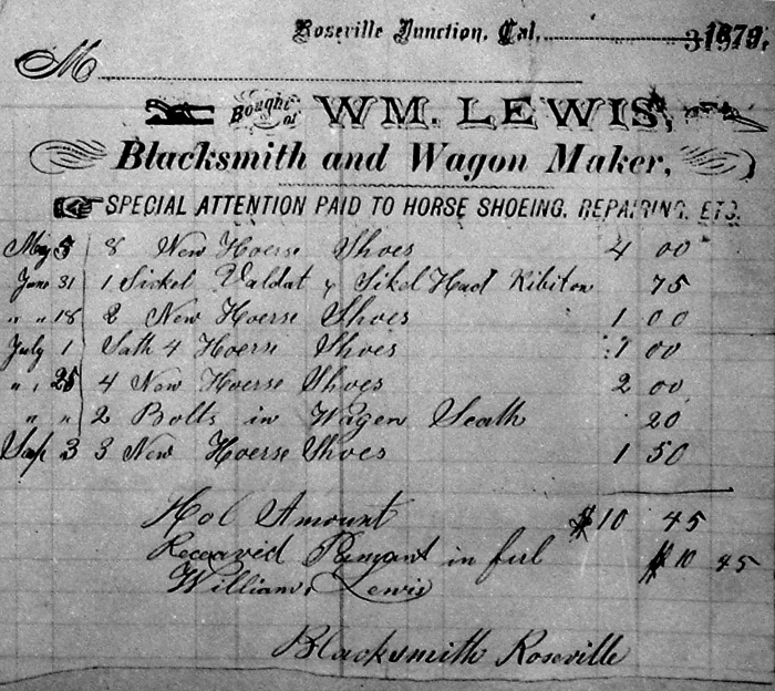 An 1878 blacksmith receipt from the archive.