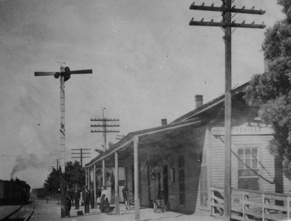 The Roseville train depot where Cassie Tomer Hill worked as telegrapher for 22 years.