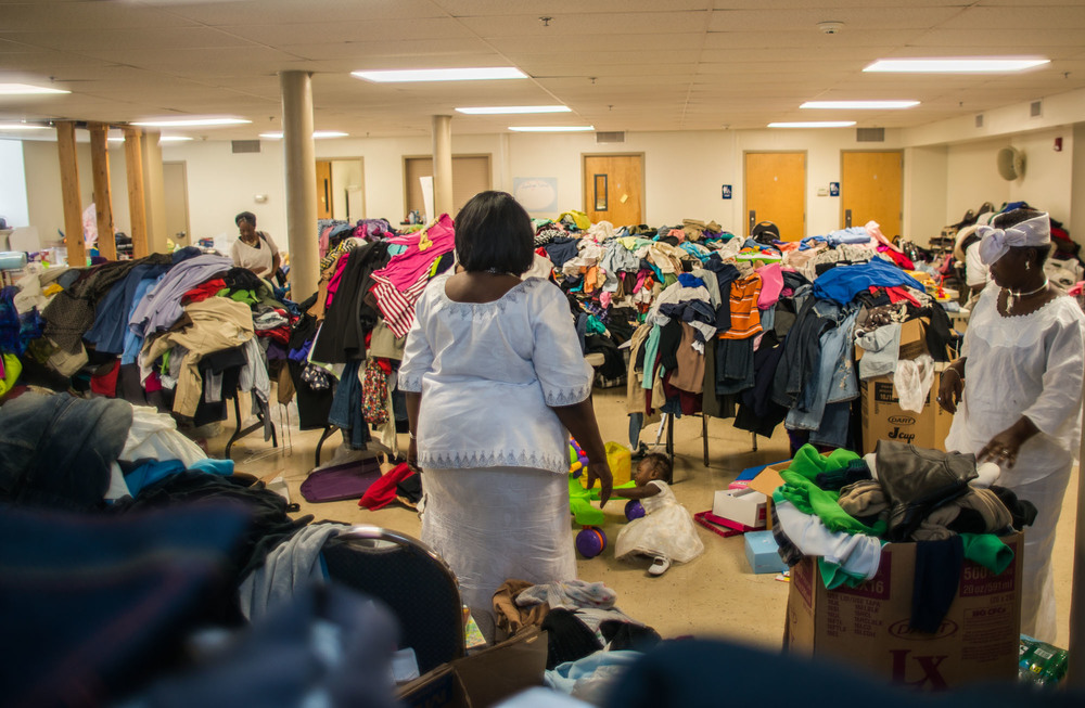 Christ International Baptist Church receives hundreds of donations for the victims of the deadly fire that swept through the 6500th block of Gesner Street last week.