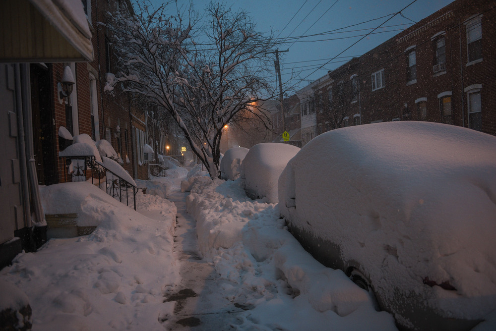This pretty much summarizes most streets in South Philly right now. This one is Dickinson, between 9th and 10th.