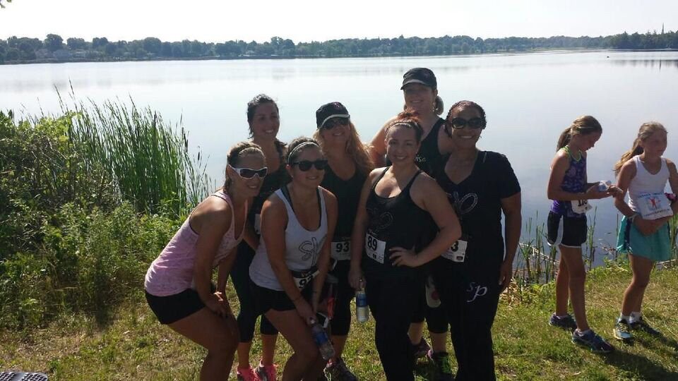 Team PoiseNation after successfully completing the 2014 race, proudly repping SP with our sparkly race gear!