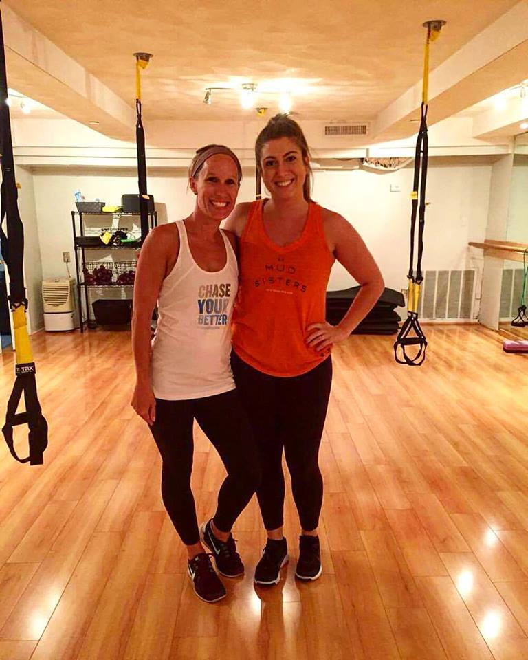 Erica Ferrell and Carly before a TRX session!